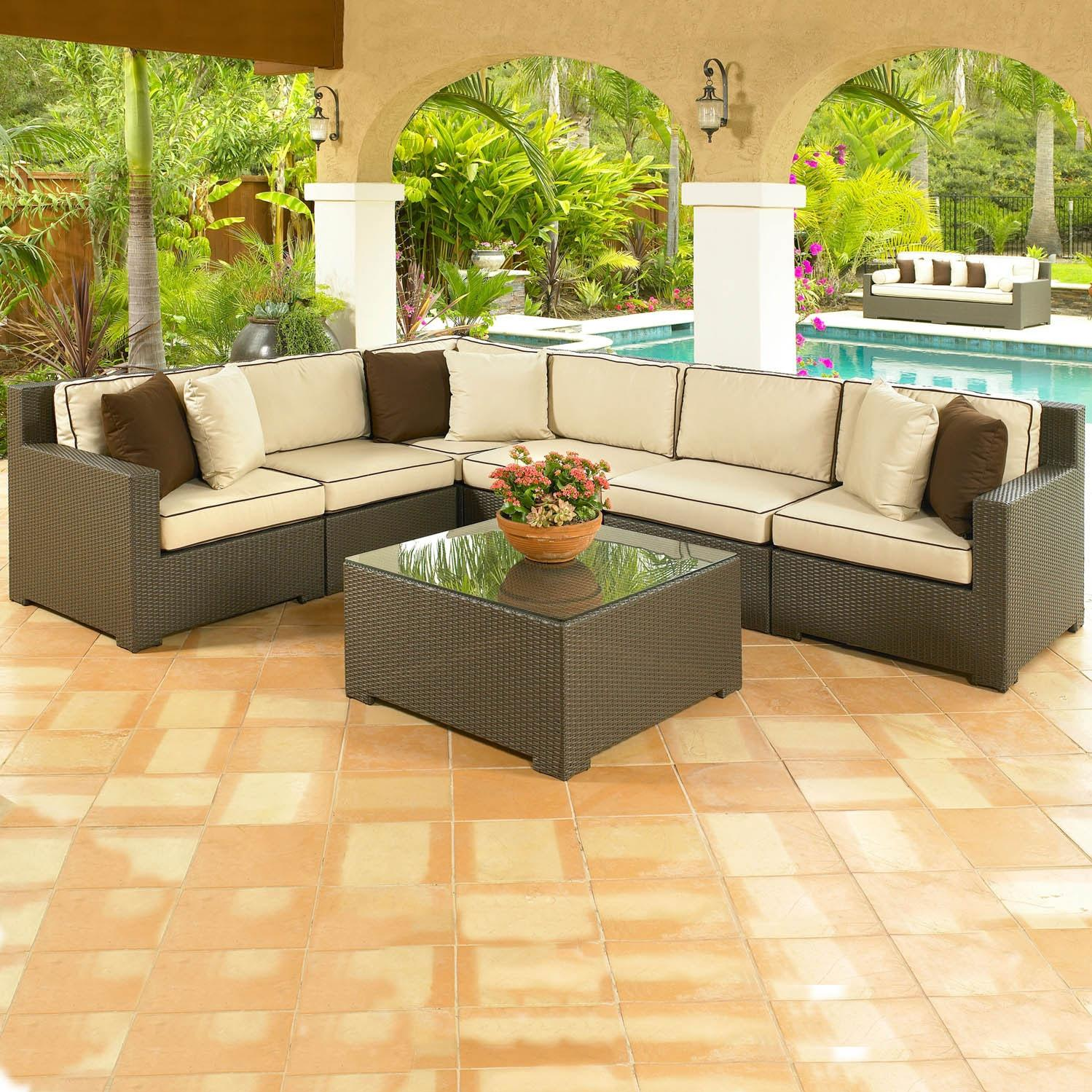 North Cape Melrose 7 Pc Wicker Sectional Patio Set