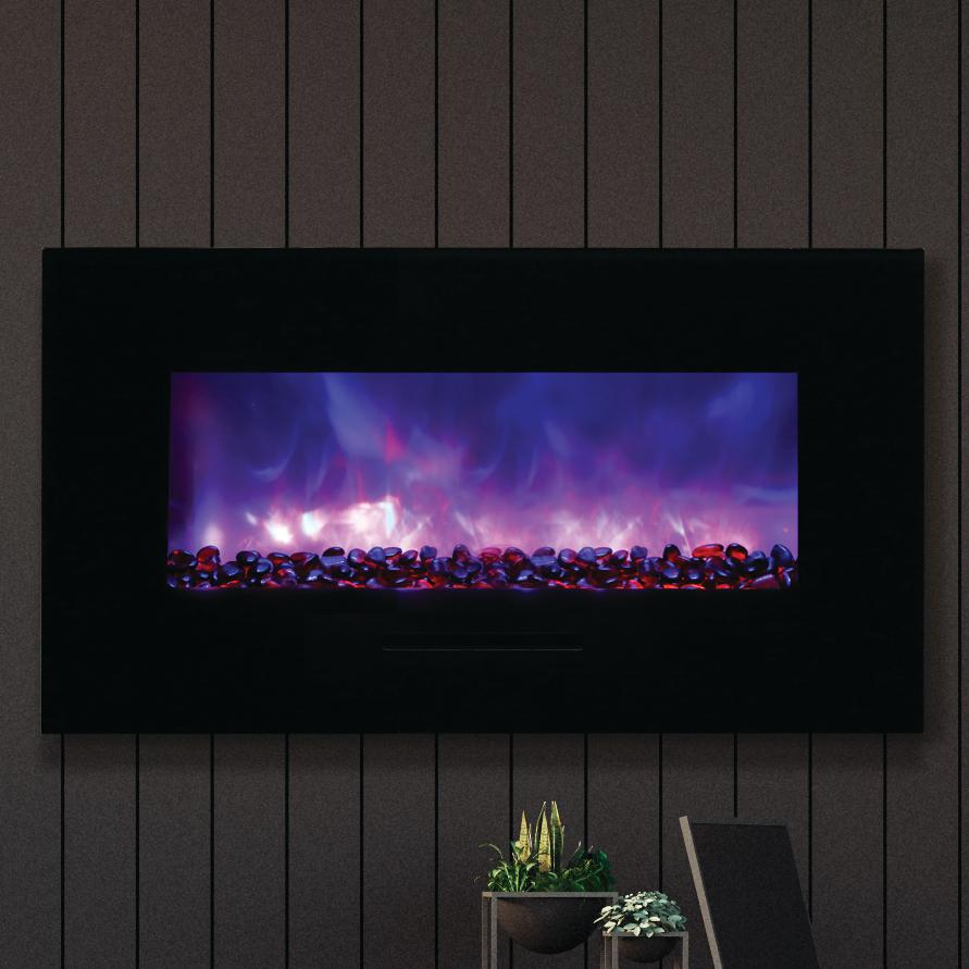 "Amantii Wall Mount/flush Mount 34"" Electric Fireplace With Black Glass Surround - Wm-fm-34-4423-bg"