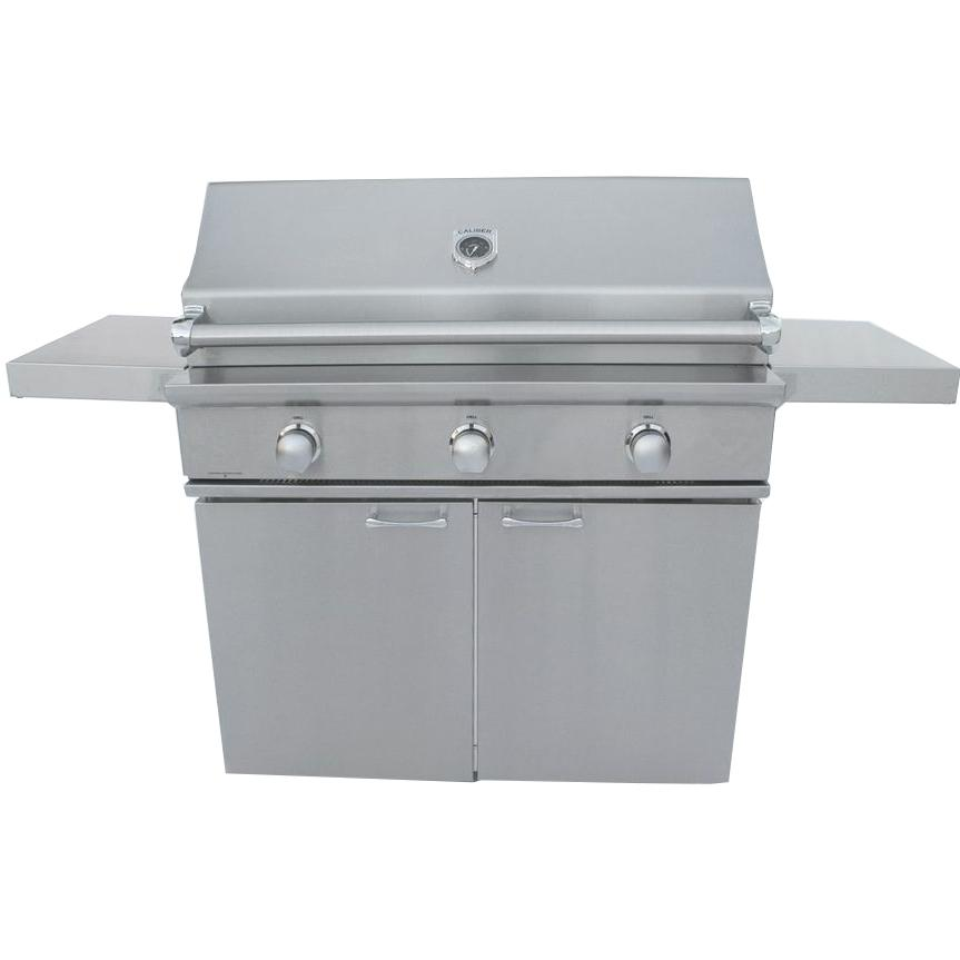Caliber Crossflame Silver 41-inch Propane Gas Grill On Cart With Sear Burner - Stainless Steel Handle