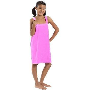 Terry Town Girls Terry Velour Body Wrap Towel Medium - Light Pink