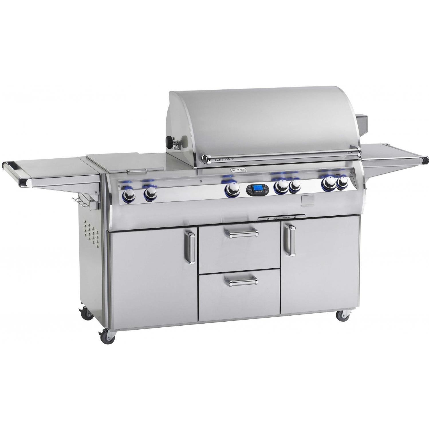 Fire Magic Echelon Diamond E660s All Infrared Propane Gas Grill With Double Side Burner And Power Hood On Cart at Sears.com