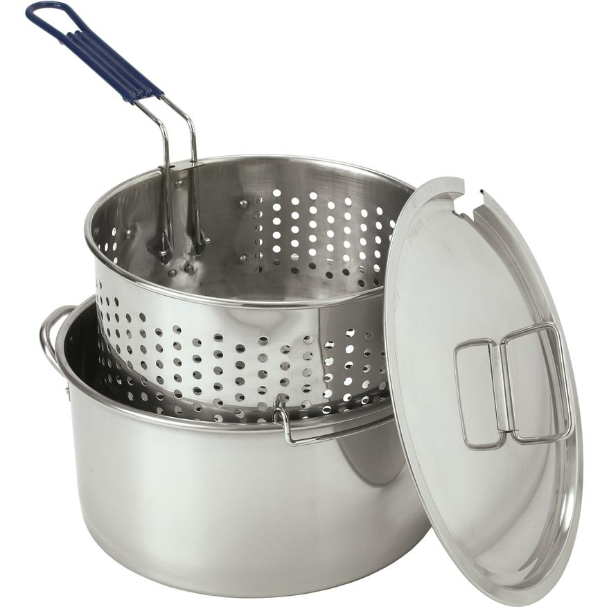 Bayou Classic Fryers With Lid And Basket 14 Quart Stainless Steel Deep Fryer