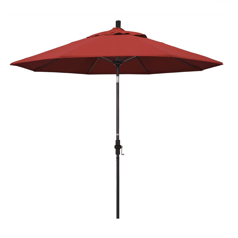 California Umbrella 9 Ft. Octagonal Aluminum Collar Tilt Patio Umbrella W/ Crank Lift & Fiberglass Ribs - Bronze Frame / Olefin Red Canopy
