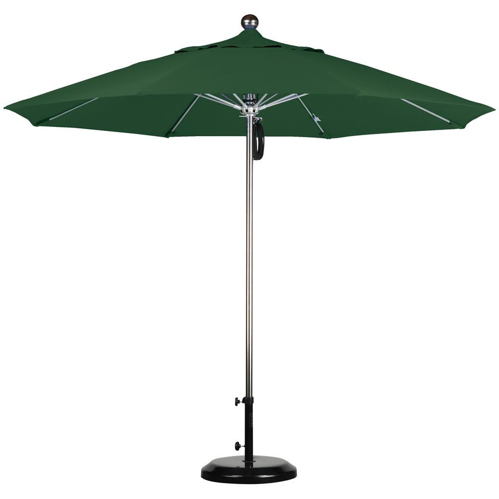 California Umbrella Octagonal 9 Ft Stainless Steel Patio Umbrella With Pulley Lift And Fiberglass Ribs 2909274