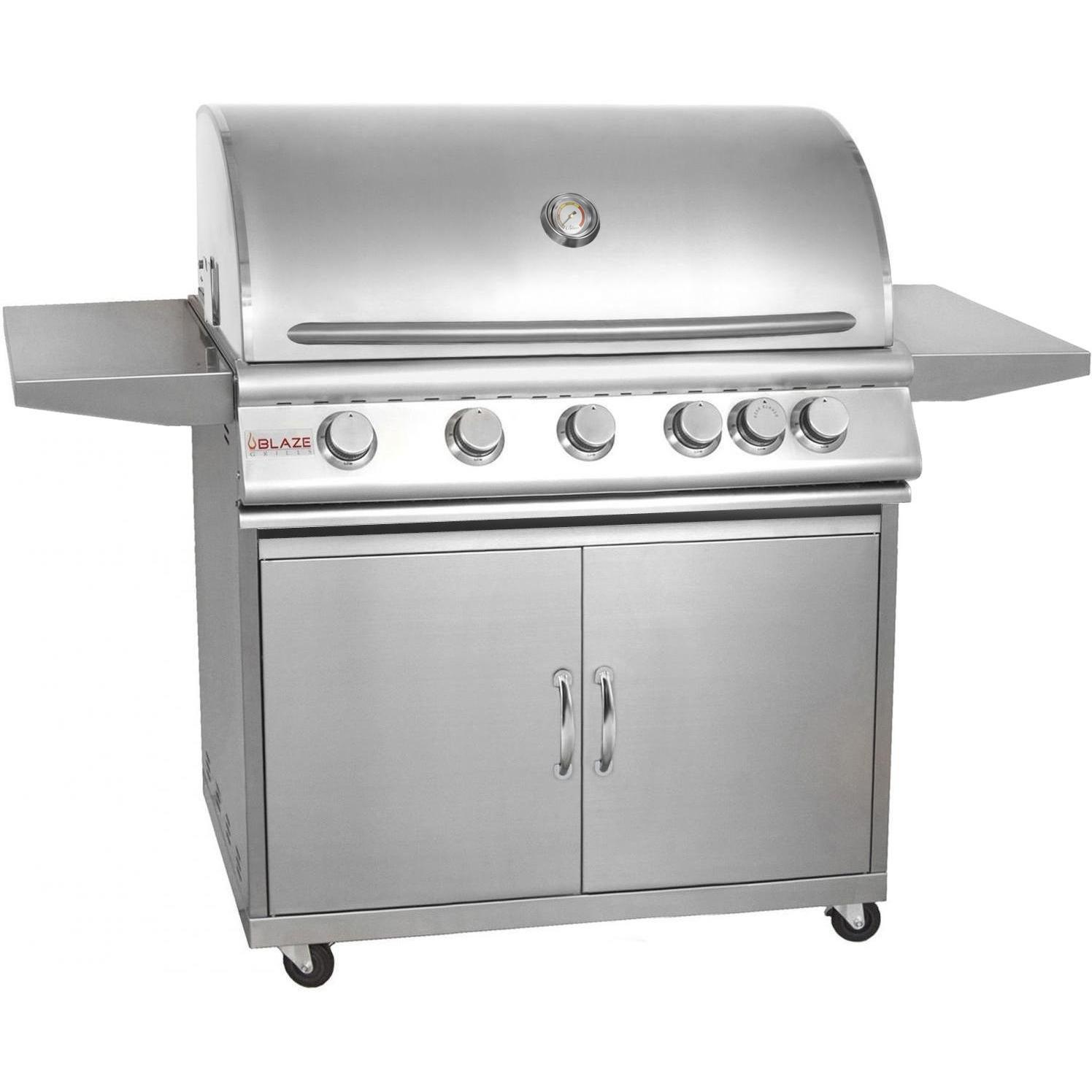 40-Inch 5-Burner Propane Gas Grill With Rear Infrared Burner On Cart