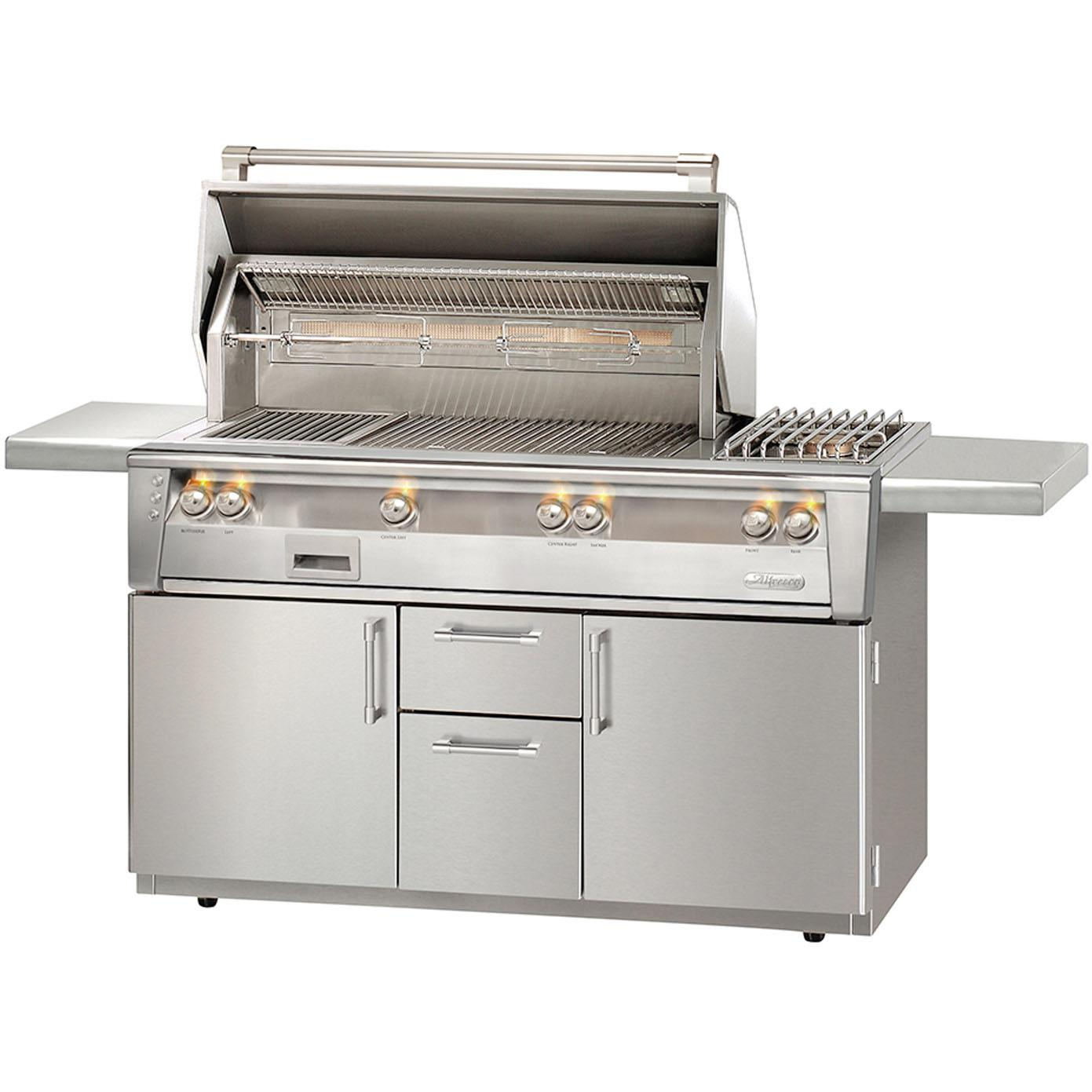 Alfresco LXE 56-Inch Propane Gas Deluxe Grill On Cart With Sear Zone, Rotisserie, And Side Burner - ALXE-56SZC-LP 2911942