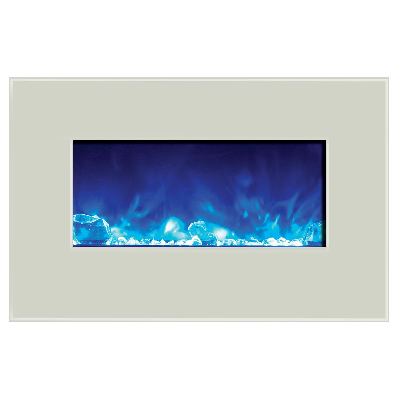 "Amantii Wall Mount/flush Mount 26"" Electric Fireplace With White Glass Surround - Wm-fm-26-3623-bg + 10701203b-wm3623flu"