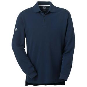 Adidas Golf Mens ClimaLite Tour Pique Long Sleeve Polo Shirt Medium - Navy/White