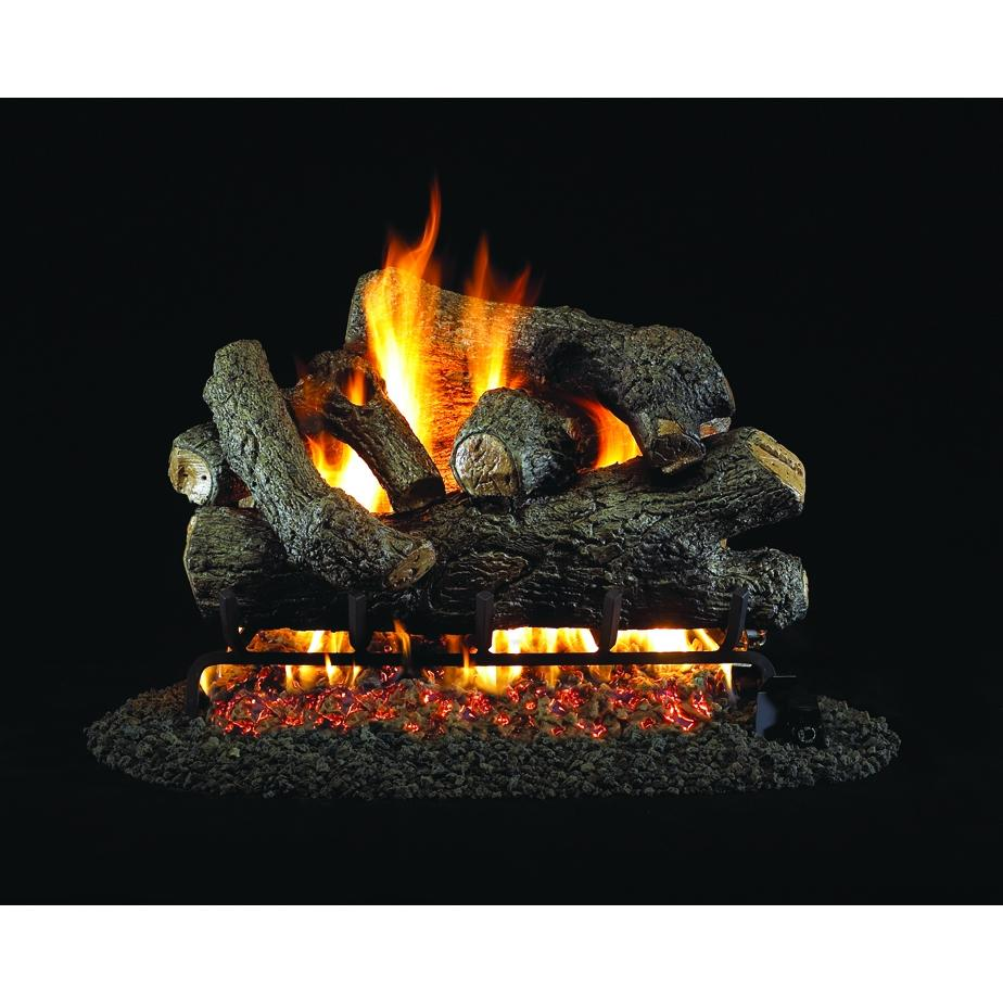 Peterson Real Fyre 24 Inch Royal English Oak Designer Log Set With Vented Propane G4 Burner - Electronic Non-Standing Pilot And Basic On/Off Remote
