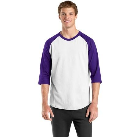 Sport-Tek Colorblock Raglan Jersey Shirt Large - White/Purple