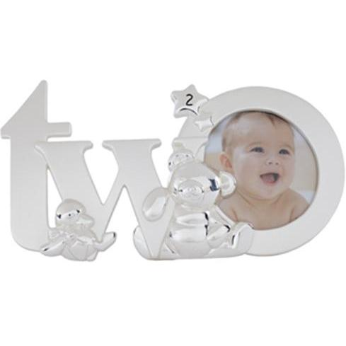 Elegant Baby Silver-plated Birthday Photo Frame - Two