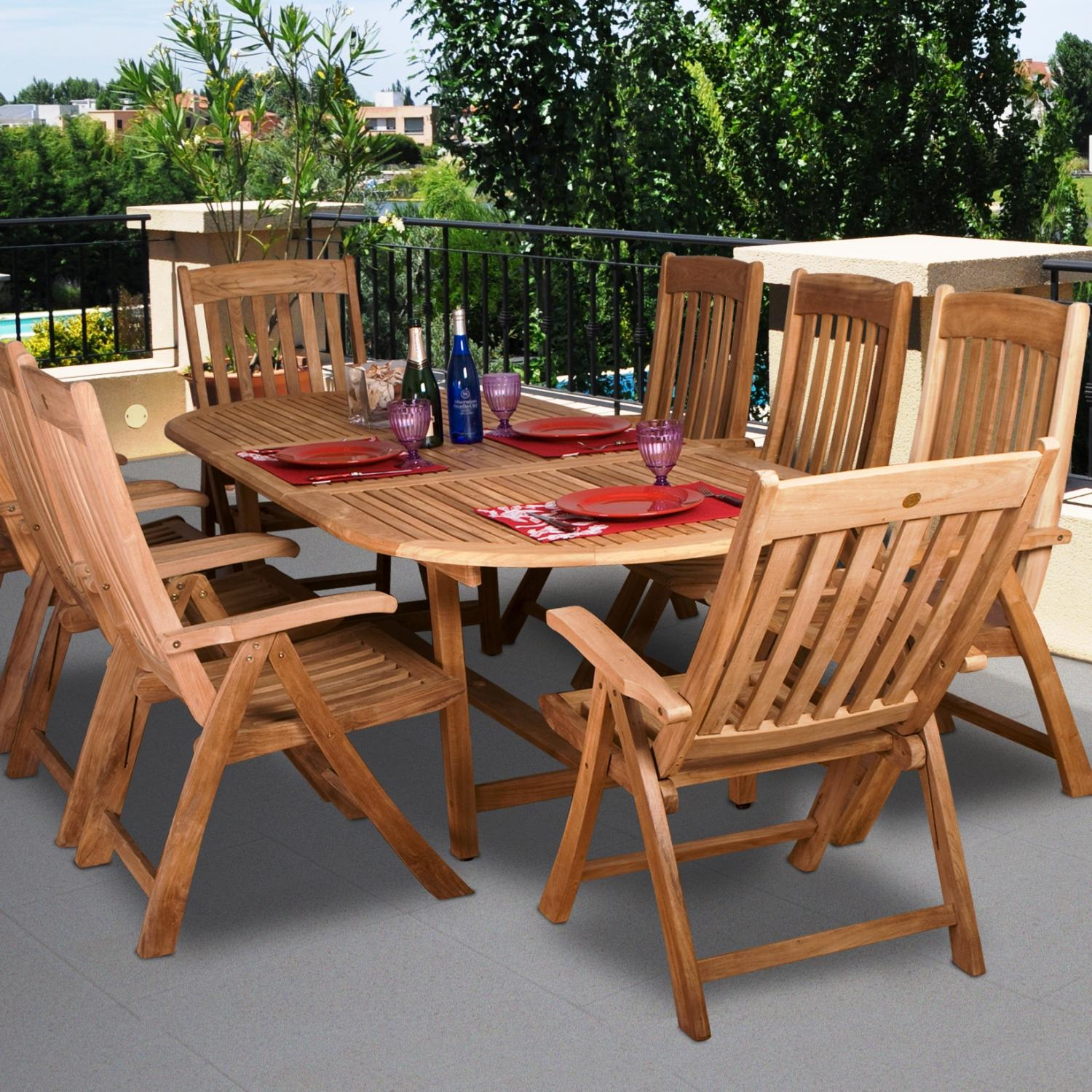 Amazonia Teak Belfast 8-person Teak Patio Dining Set With Extension Table And Reclining Chairs