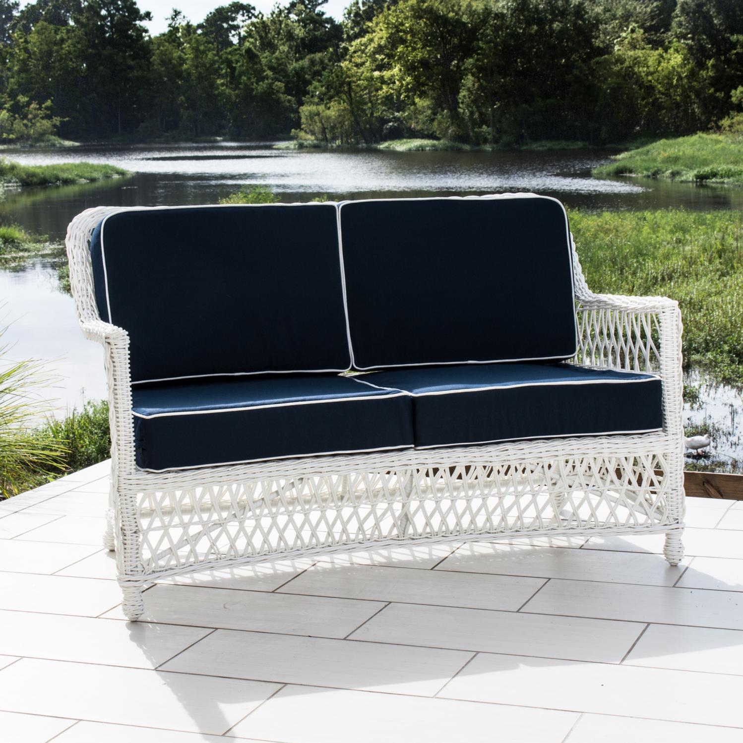 Everglades White Resin Wicker Patio Loveseat By Lakeview ...