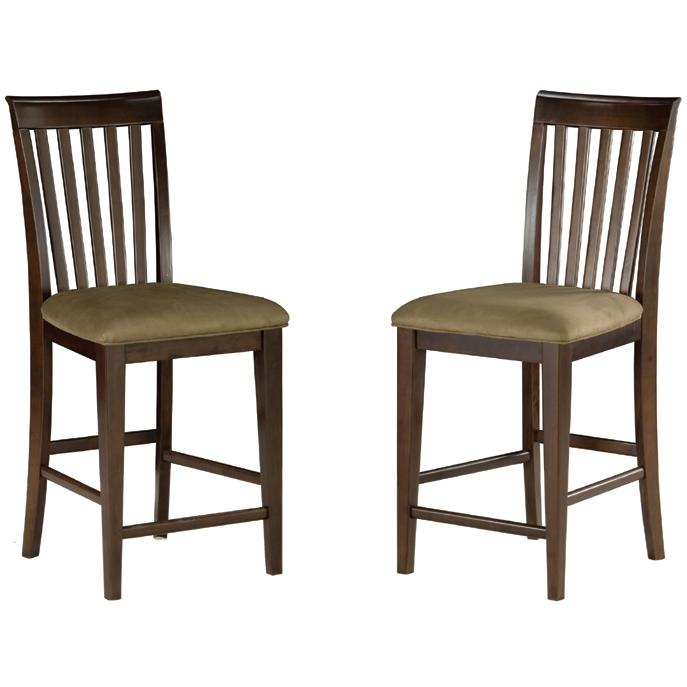 Atlantic Furniture 7002410 Mission Pub Chairs Antique Walnut W/ Cappuccino Cushion (Set Of 2 Chairs)