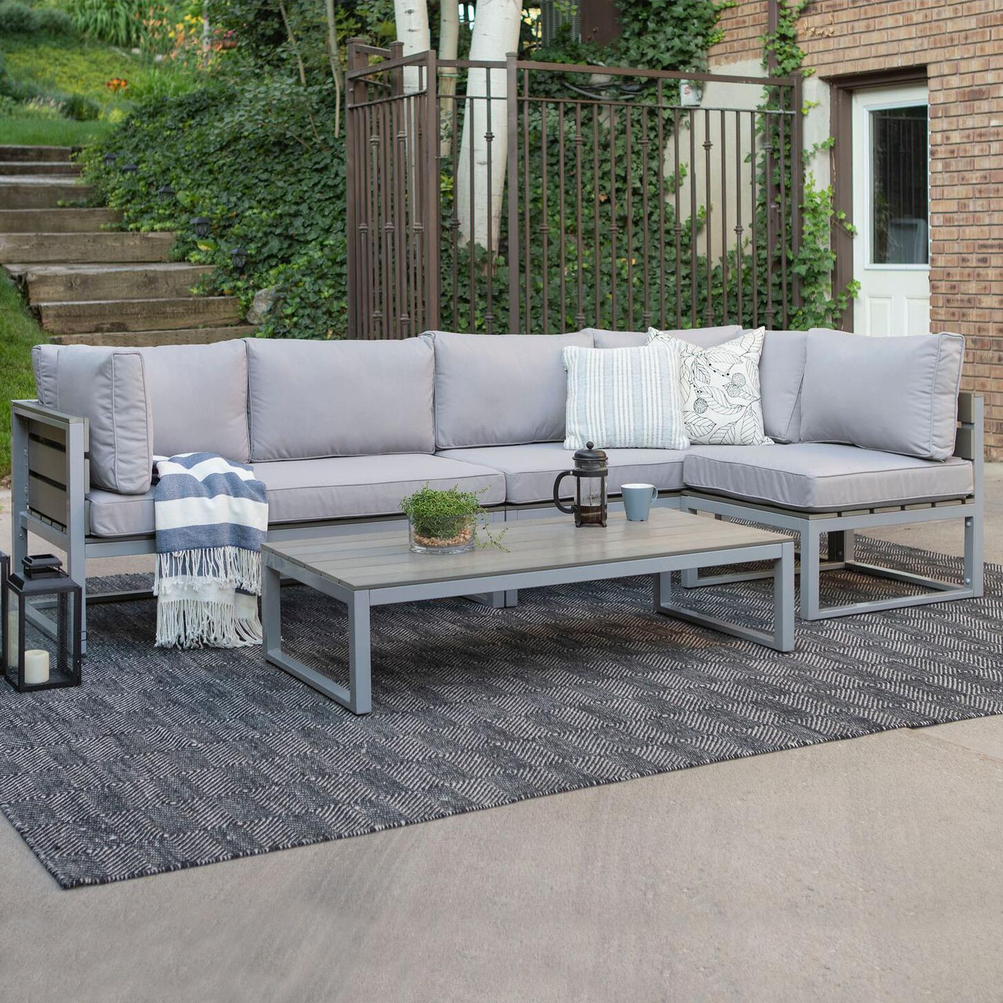 Walker Edison Boardwalk 4 Piece Aluminum Patio Sectional Set W/ Gray Cushions By - Oaw4csngy