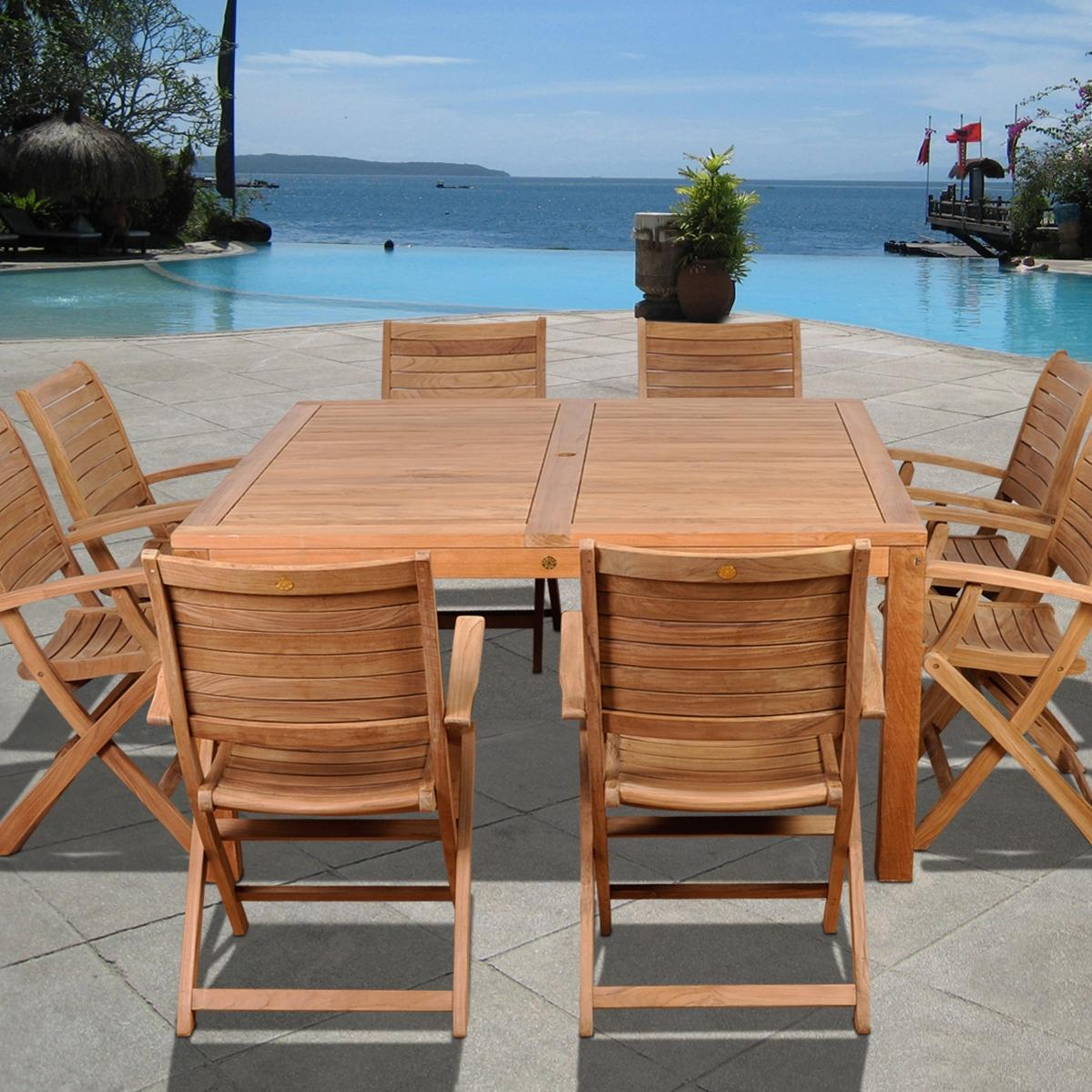 Amazonia Teak Boynton 8-person Teak Patio Dining Set With Folding Chairs