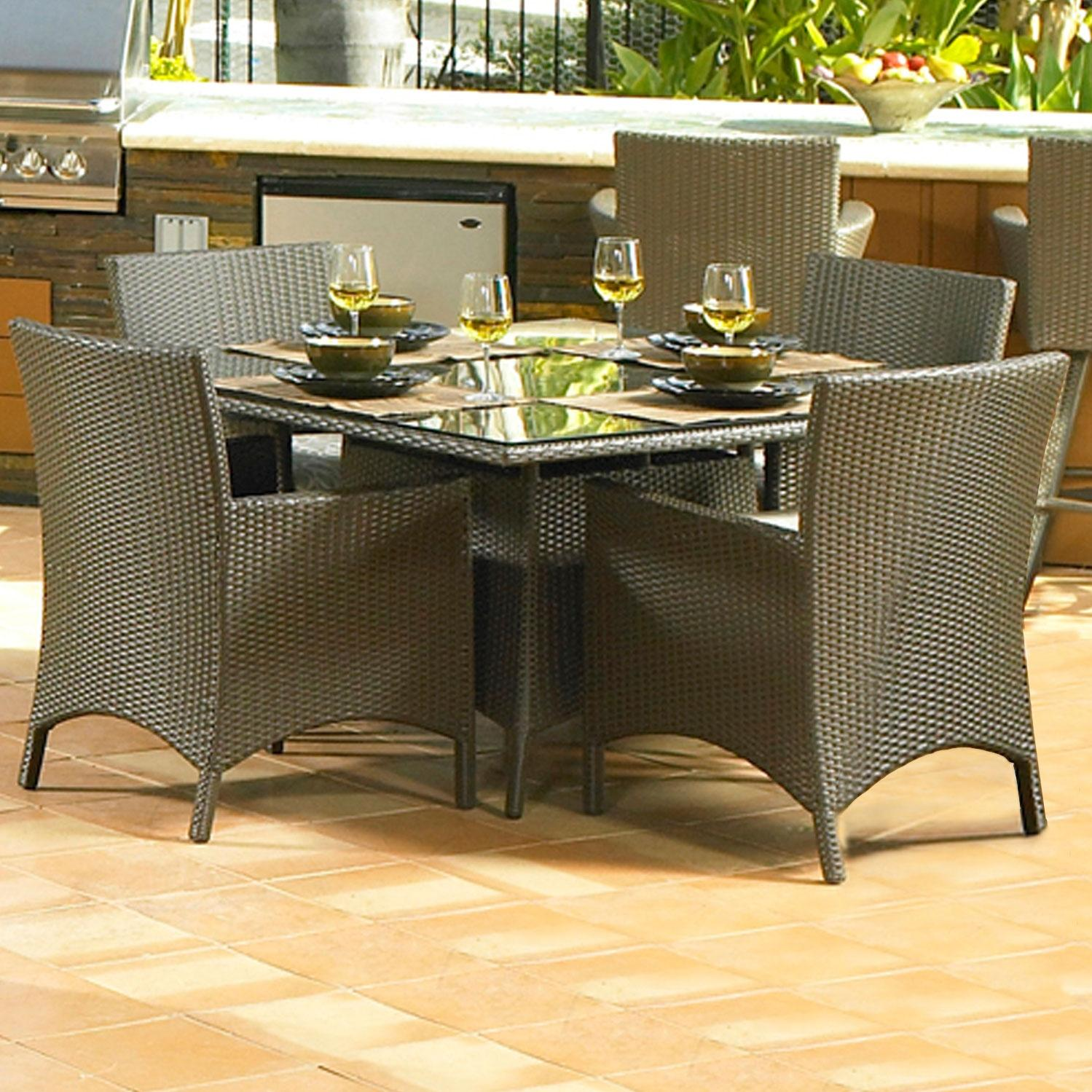 North Cape Melrose 5 Pc Wicker Patio Dining Set - 48 Inch