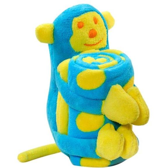 Elegant Baby Microplush Baby Blanket And Toy - Monkey