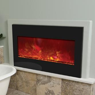 Amantii Zero Clearance 33-inch Built-in Electric Fireplace - Black Glass - Zecl-33
