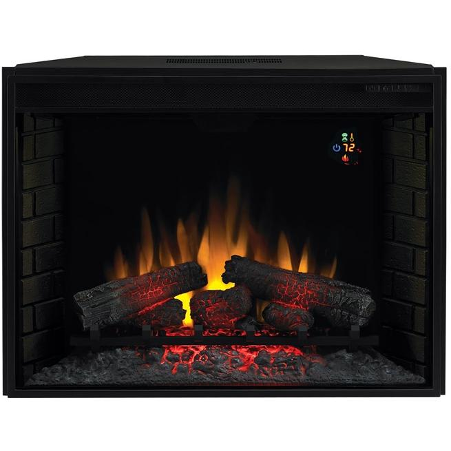 ClassicFlame 33EF022GRA 33 Inch Fixed Front Electric Fireplace Insert With Backlit Display And Remote - Black