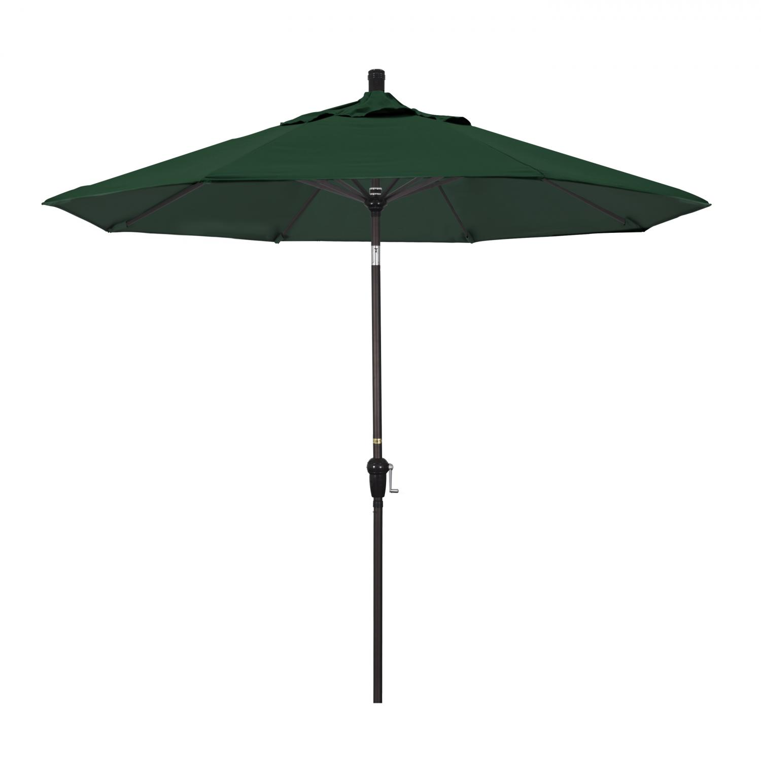California Umbrella 9 Ft. Octagonal Aluminum Auto Tilt Patio Umbrella W/ Crank Lift & Aluminum Ribs - Bronze Frame / Olefin Hunter Green Canopy