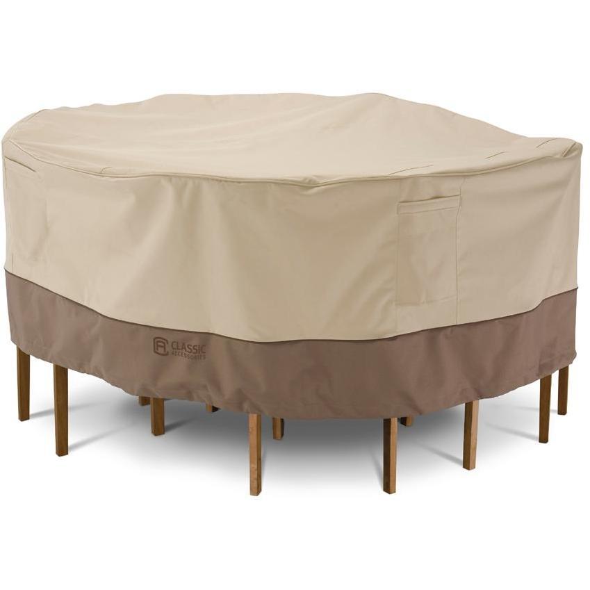 Classic Accessories Veranda Patio Table And Chair Set Cover - Pebble\/Barn\/Earth - Lg. Round