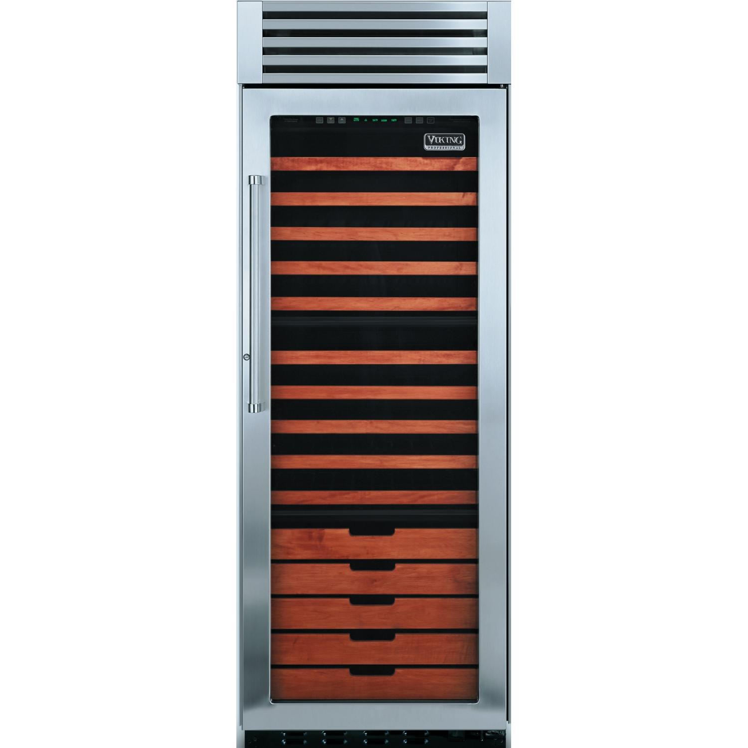 Viking VCWB300R 150 Bottle Professional Series Built In Triple Zone Right Hinge Beverage Cooler - Glass Door