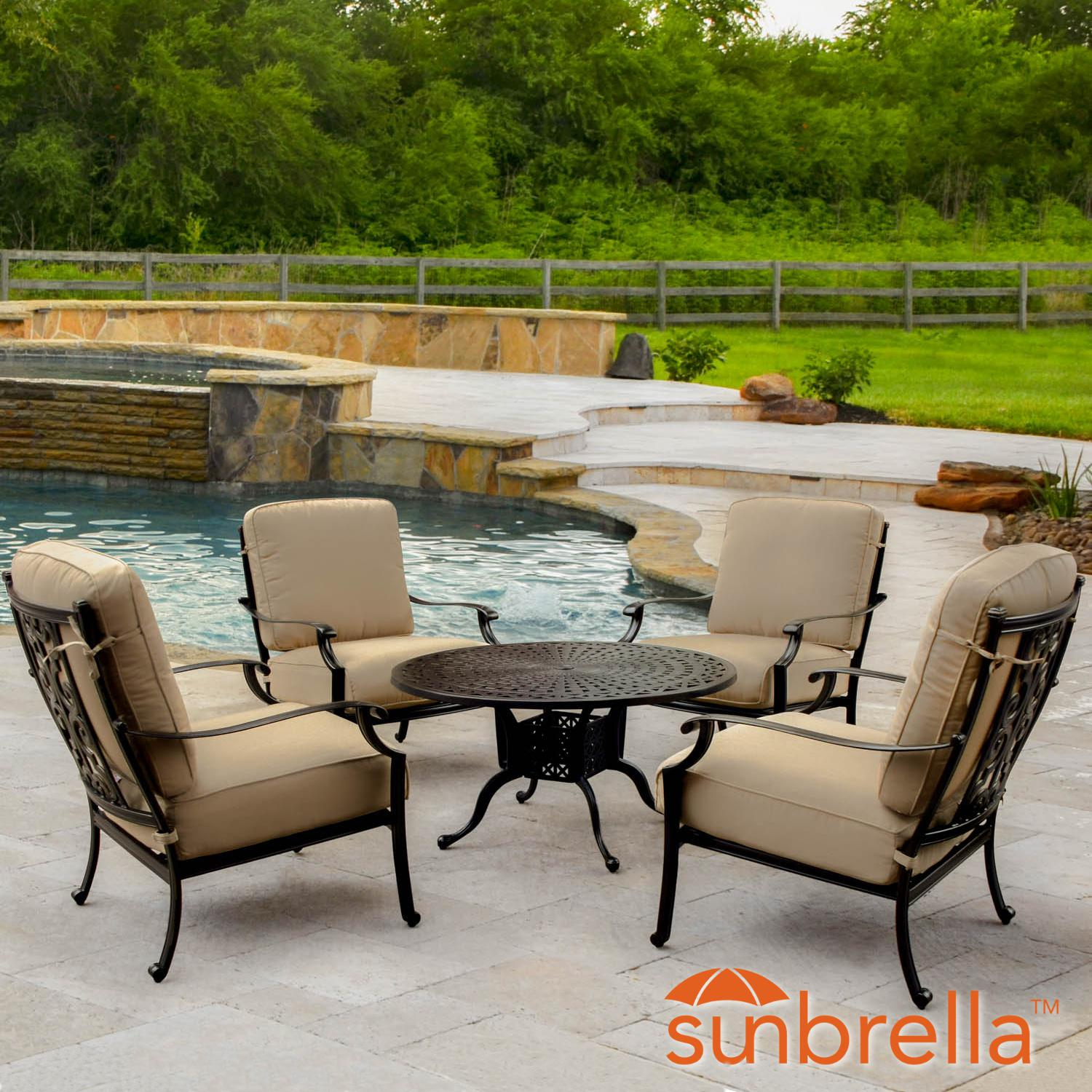 Bocage 5 Piece Cast Aluminum Patio Conversation Set W/ Ro...