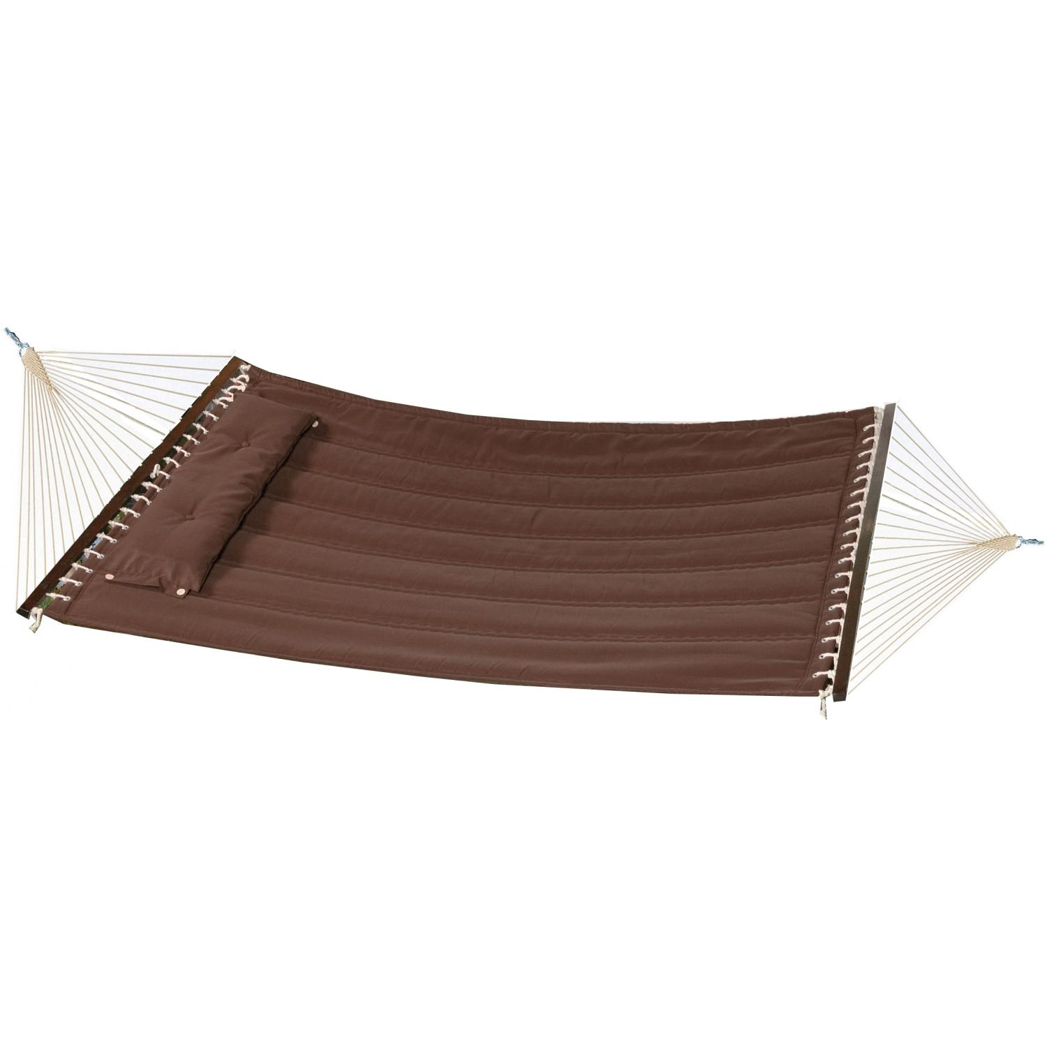Bliss Hammocks Poly Quilted Hammock With Pillow - Cocoa Brown