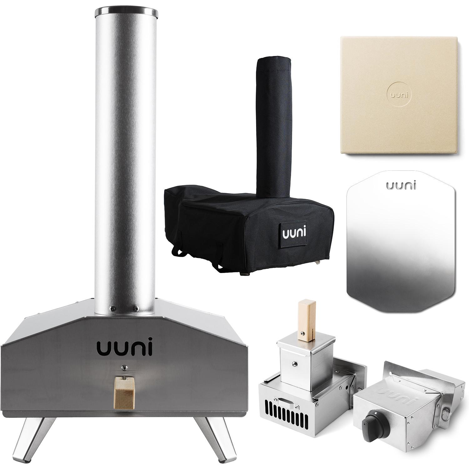 Ooni Uuni 3 Portable Outdoor Wood-Fired Pellet Pizza Oven Bundle W/ Gas Burner & Cover / Bag - Stainless Steel - UUNI-3A + UU-P02700 + UUNI-C0VER-3A