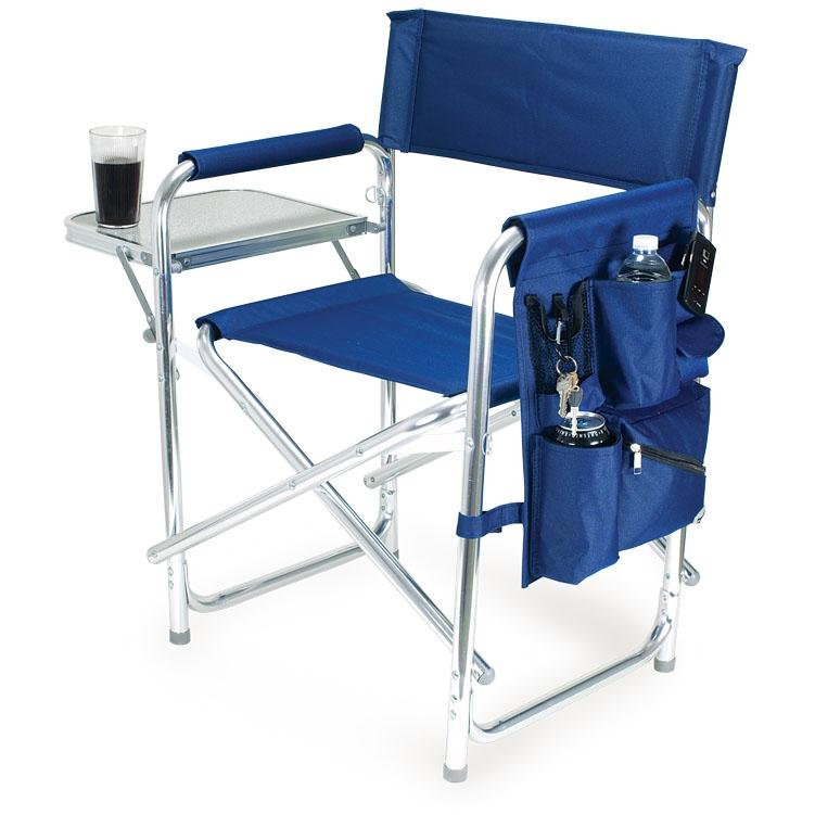 Picnic Time Portable Folding Sports Chair With Side Table - Navy at Sears.com