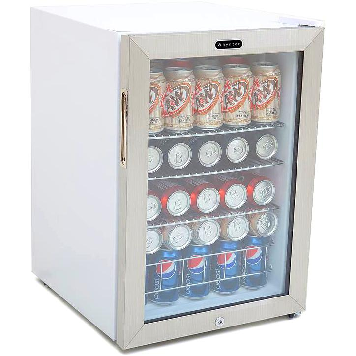 Whynter 90 Can Beverage Refrigerator With Lock - Stainless Steel - BR-091WS