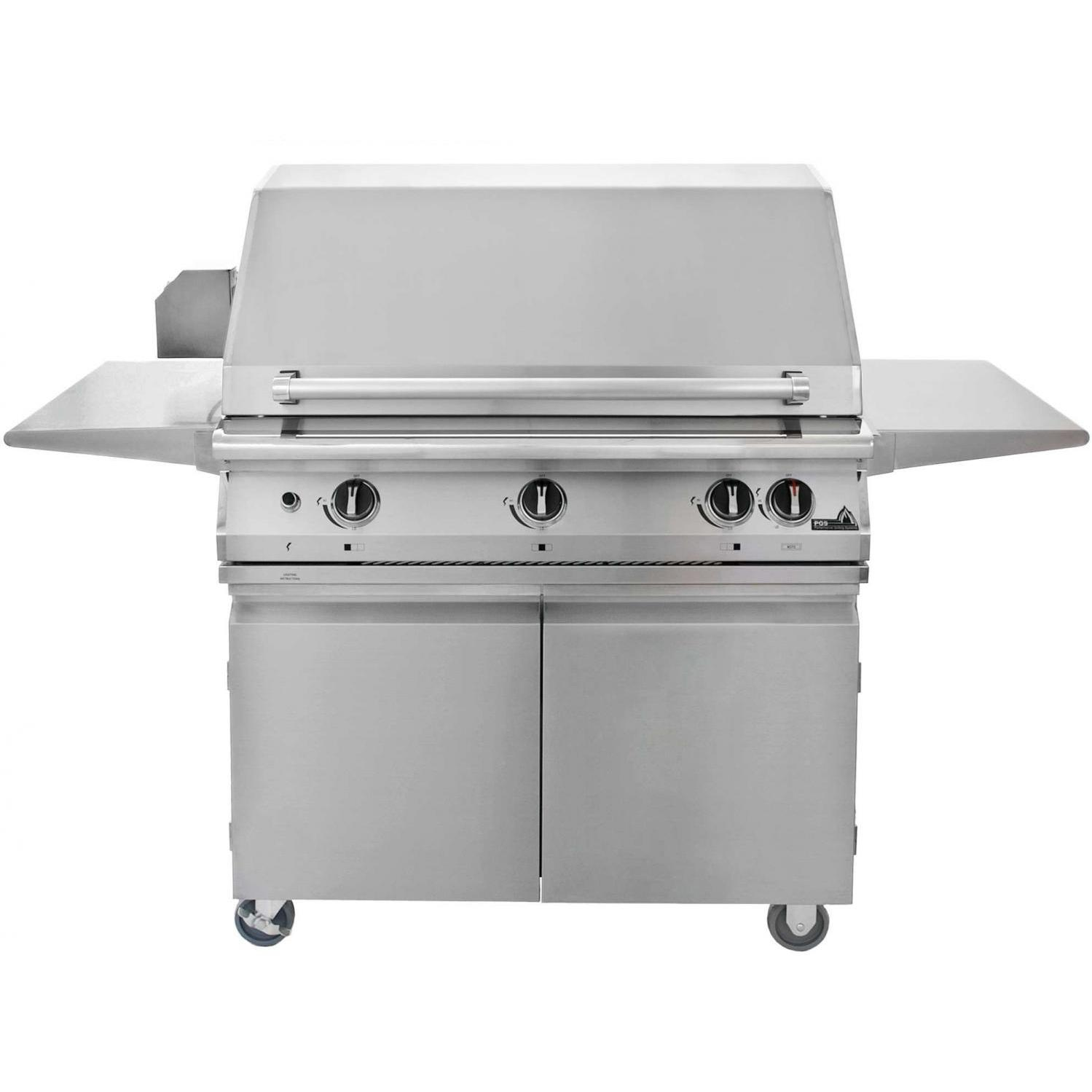 PGS Legacy Pacifica Gourmet 39-Inch Propane Gas Grill With Infrared Rear Burner And Rotisserie On Cart 363464