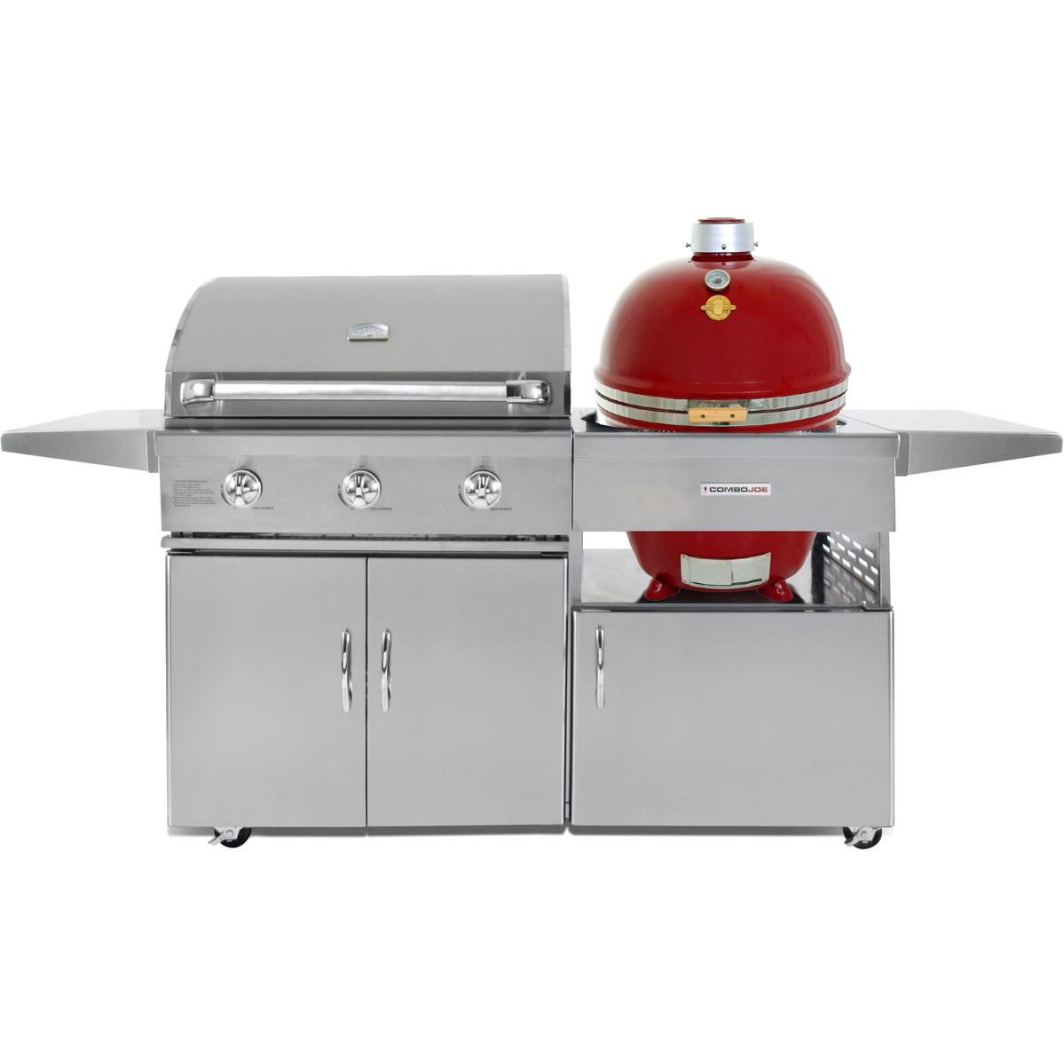 Grill Dome Infinity Series Red Kamado And 32-Inch Natural Gas Grill On Cart, Discount ID GJ32S-NG CGJ32C GDL-RD