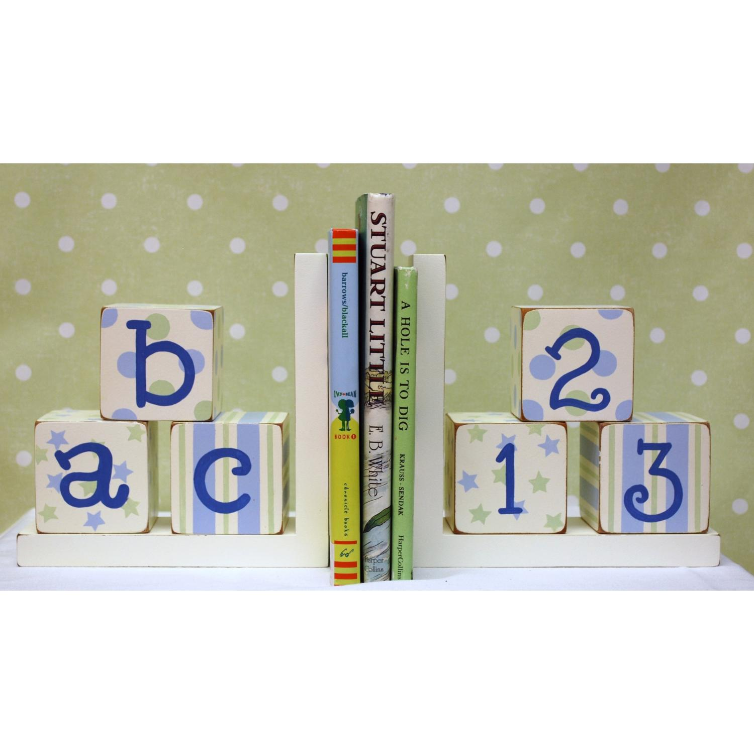 New Arrivals Wooden ABC Block Bookends - Blue/Green