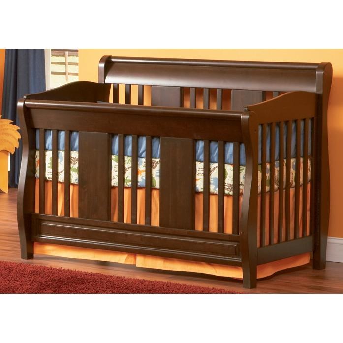 Atlantic Furniture 4033430 Versailles Convertible Crib / Full Bed Antique Walnut