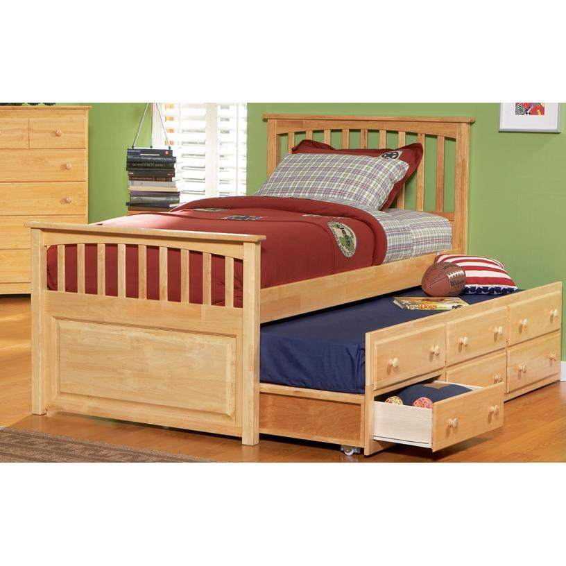 Atlantic Furniture 3013231 Full Size Mates Bed White W/ Three Drawer Trundle