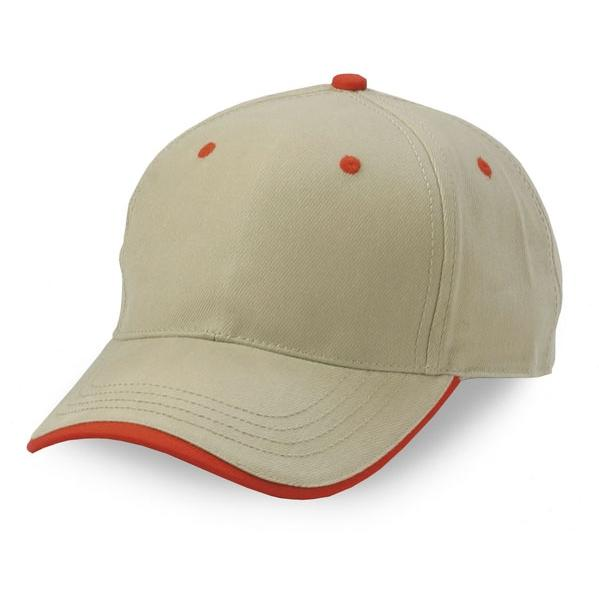 Cobra Caps Heavy Brushed Cotton Wave Sandwich Cap - Khaki/Red