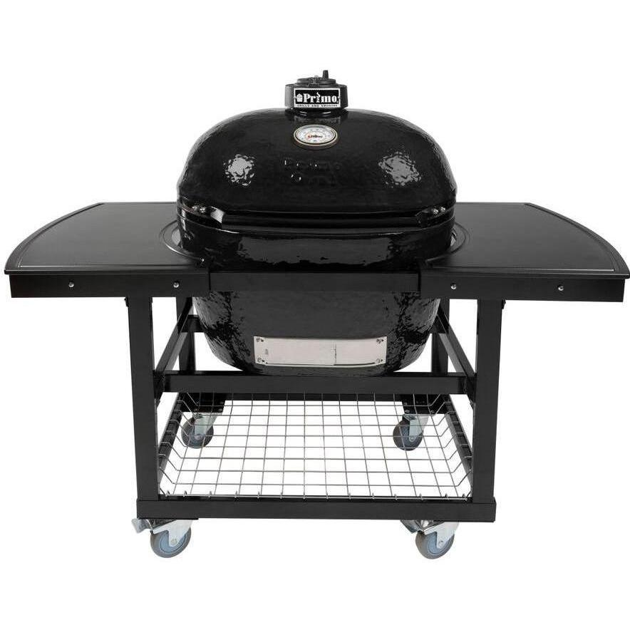 Primo Oval XL Ceramic Kamado Grill On Steel Cart With 2-Piece Island Side Shelves - 778 + 368 + 311