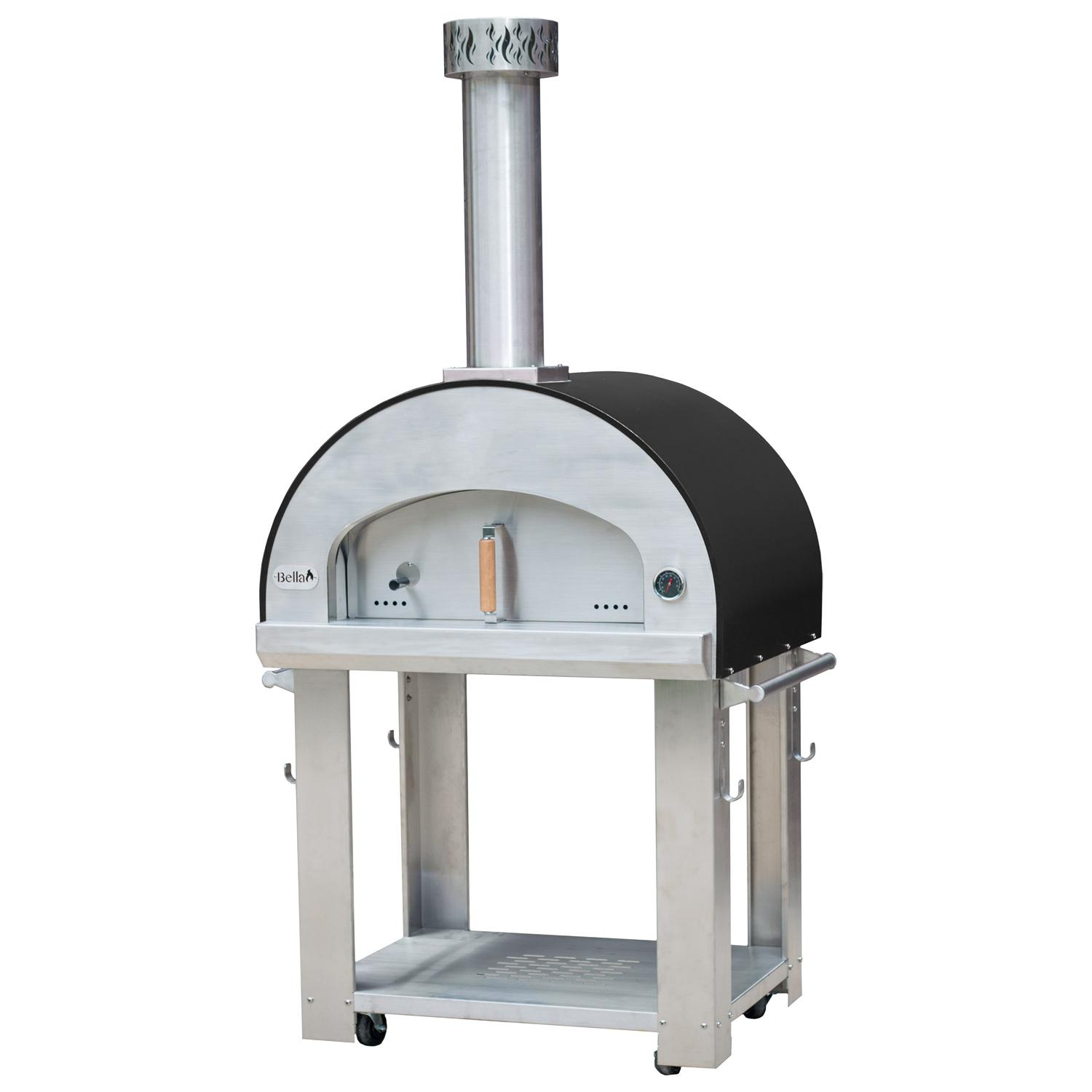 "Bella Outdoor Living Bella Grande 32"" Outdoor Wood Fired Pizza Oven On Cart - Black - Begs32b"