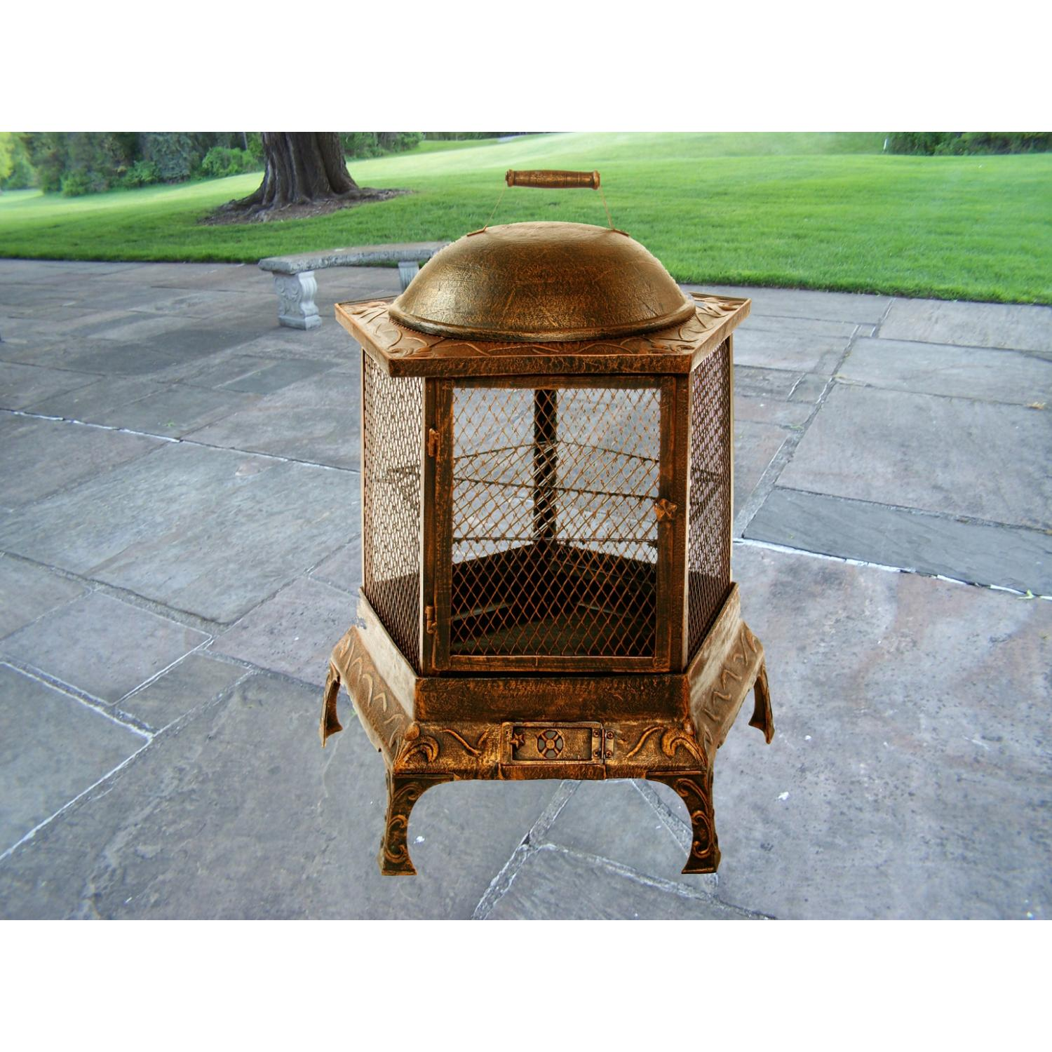 Oakland Living Pentagon Fire Pit Chimenea - Antique Bronze