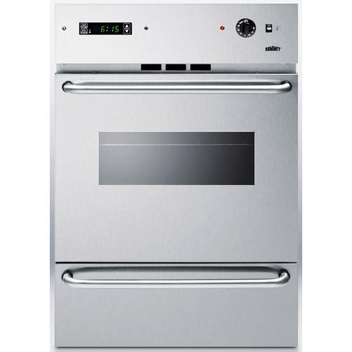 Summit TEM721DKSSW Windowed Electric Wall Oven With Digital Clock And Timer - Stainless Steel