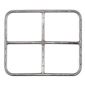 18 X 15 Inch Stainless Rectangular Single Propane Fire Pit Ring