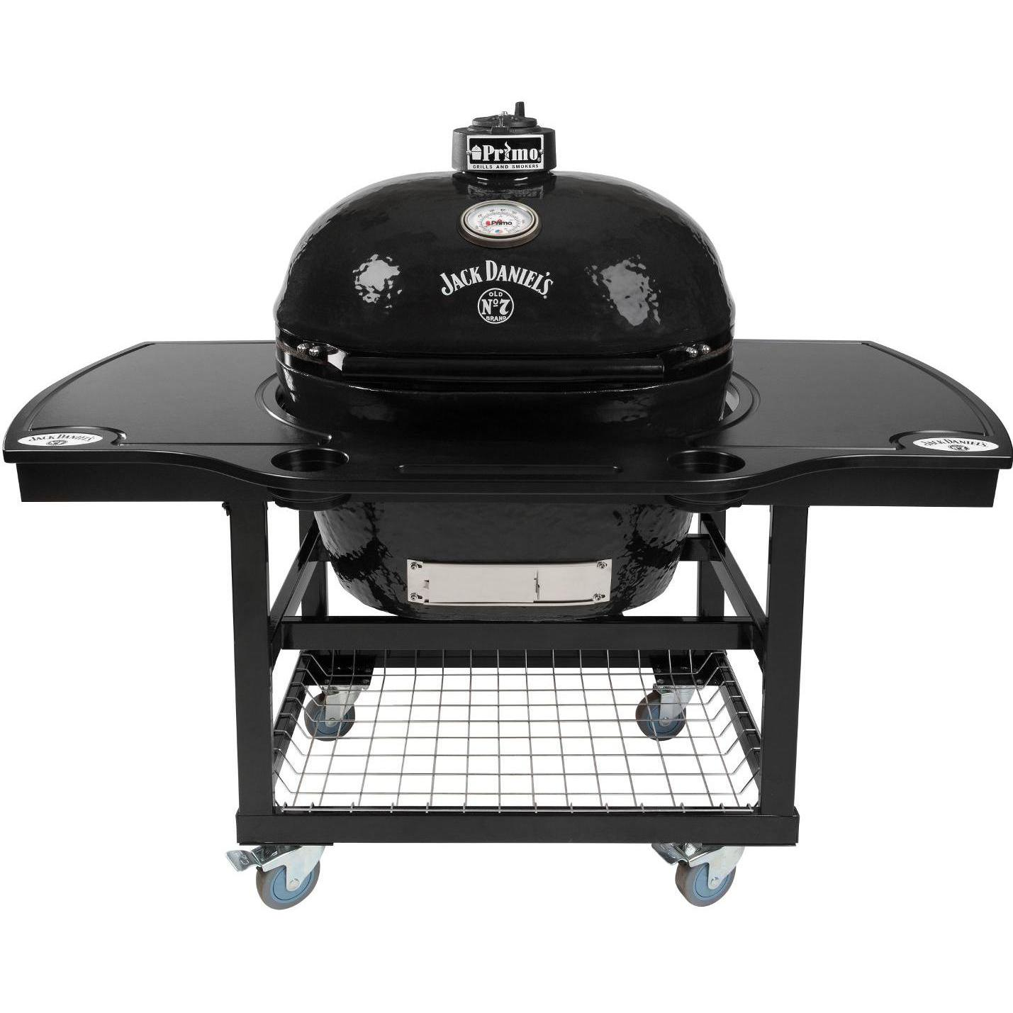 Primo Jack Daniels Edition Oval XL Ceramic Kamado Grill On Steel Cart With 1-Piece Island Side Shelves & Cup Holders - 900 + 368 + 910