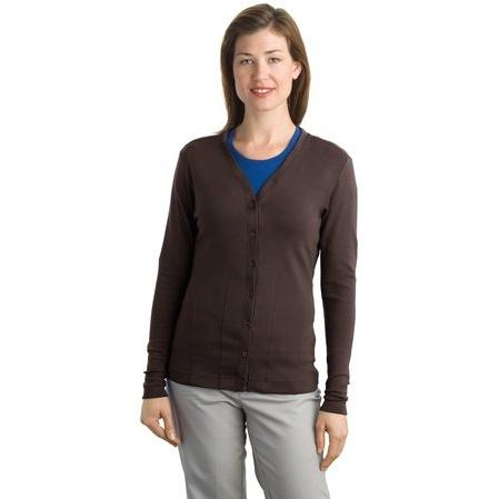 Port Authority Ladies Modern Stretch Cotton Cardigan Large - Dark Chocolate Brown