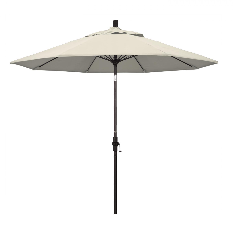 California Umbrella 9 Ft. Octagonal Aluminum Collar Tilt Patio Umbrella W/ Crank Lift & Fiberglass Ribs - Bronze Frame / Olefin Antique Beige Canopy