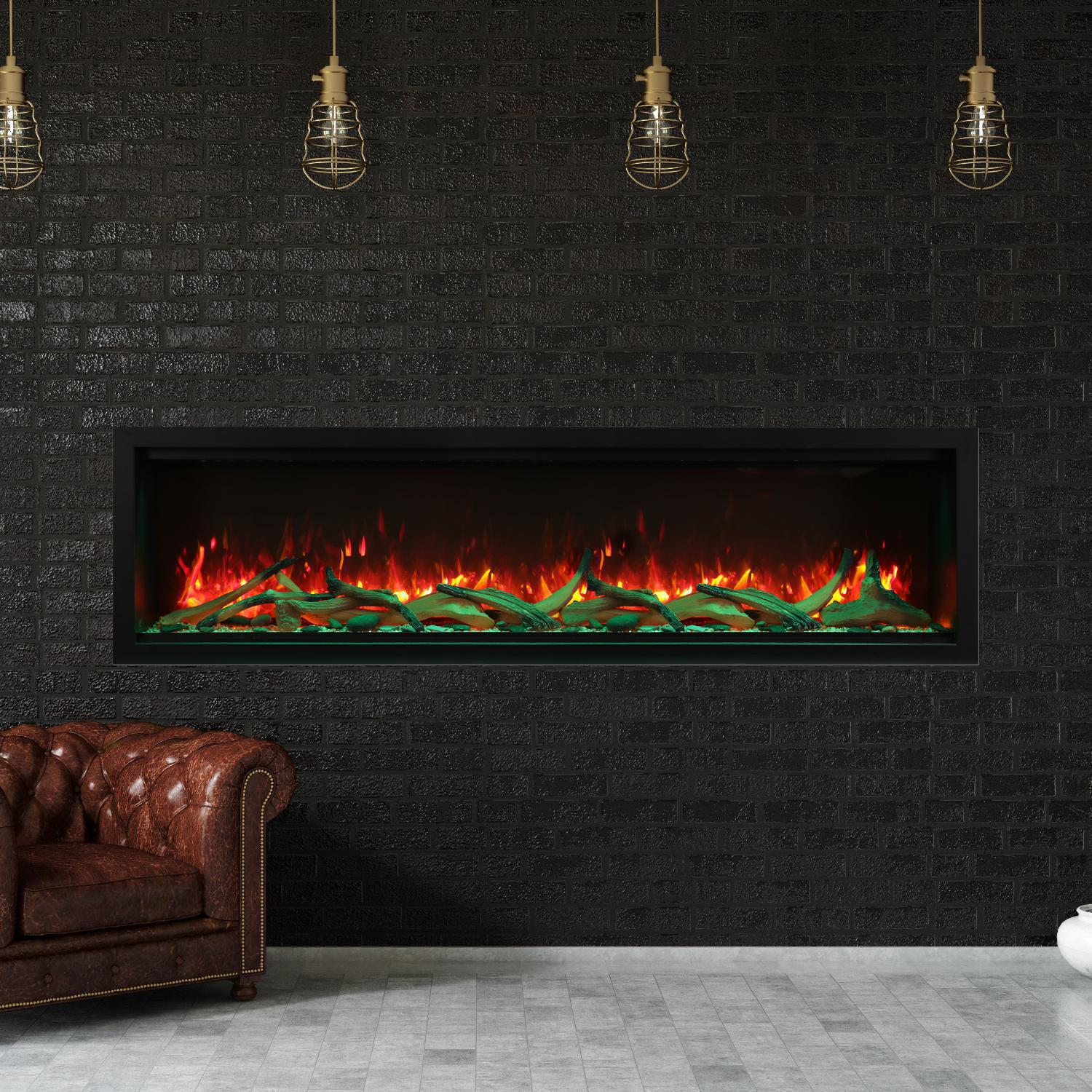 """Amantii Symmetry Series Extra Tall 74"""" Built-in Electric Fireplace With Black Steel Surround - Driftwood Logs - Indoor/outdoor - Sym-74-xt"""
