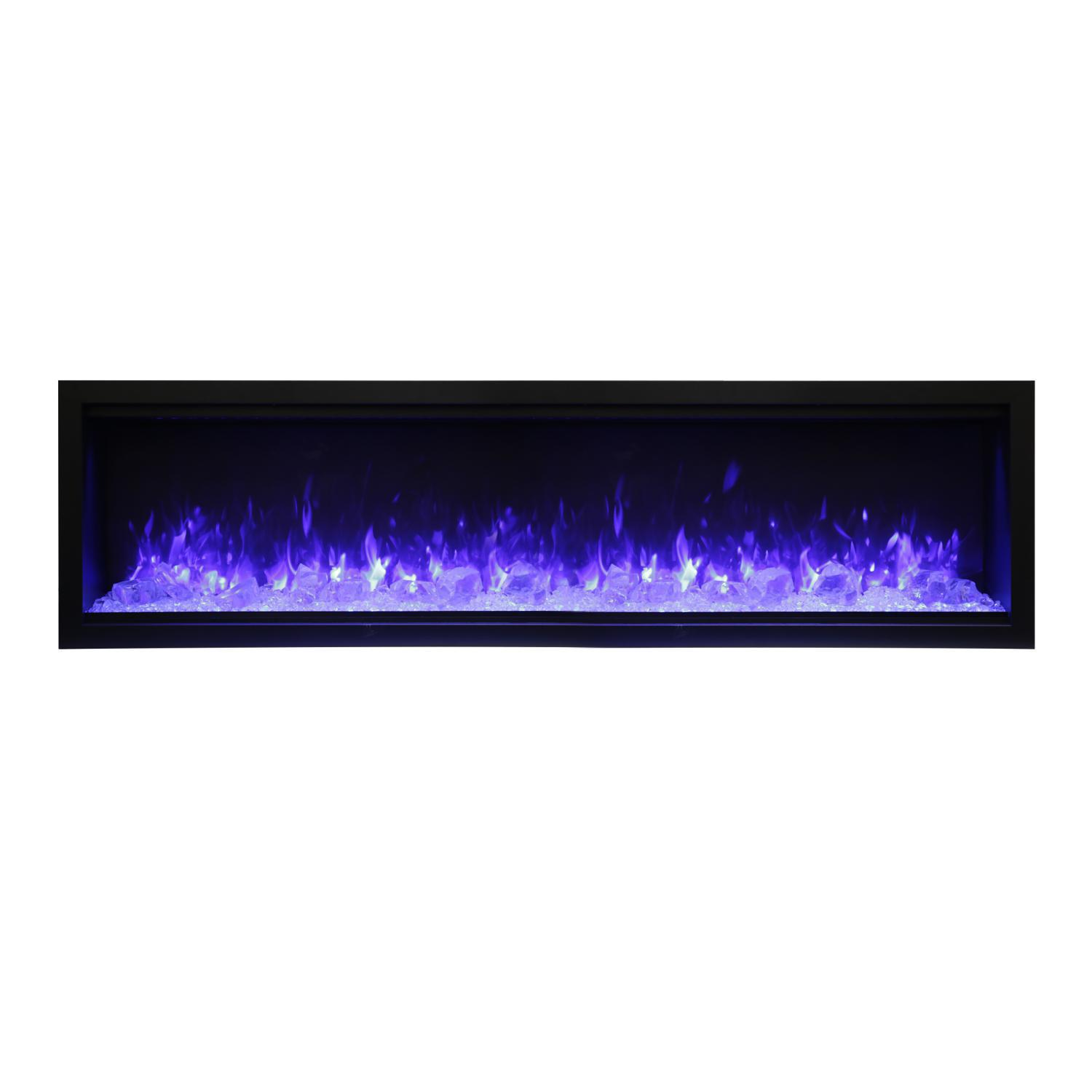 """Amantii Symmetry Series Extra Tall 74"""" Built-in Electric Fireplace With Black Steel Surround - Ice Media Kit - Indoor/outdoor - Sym-74-xt"""