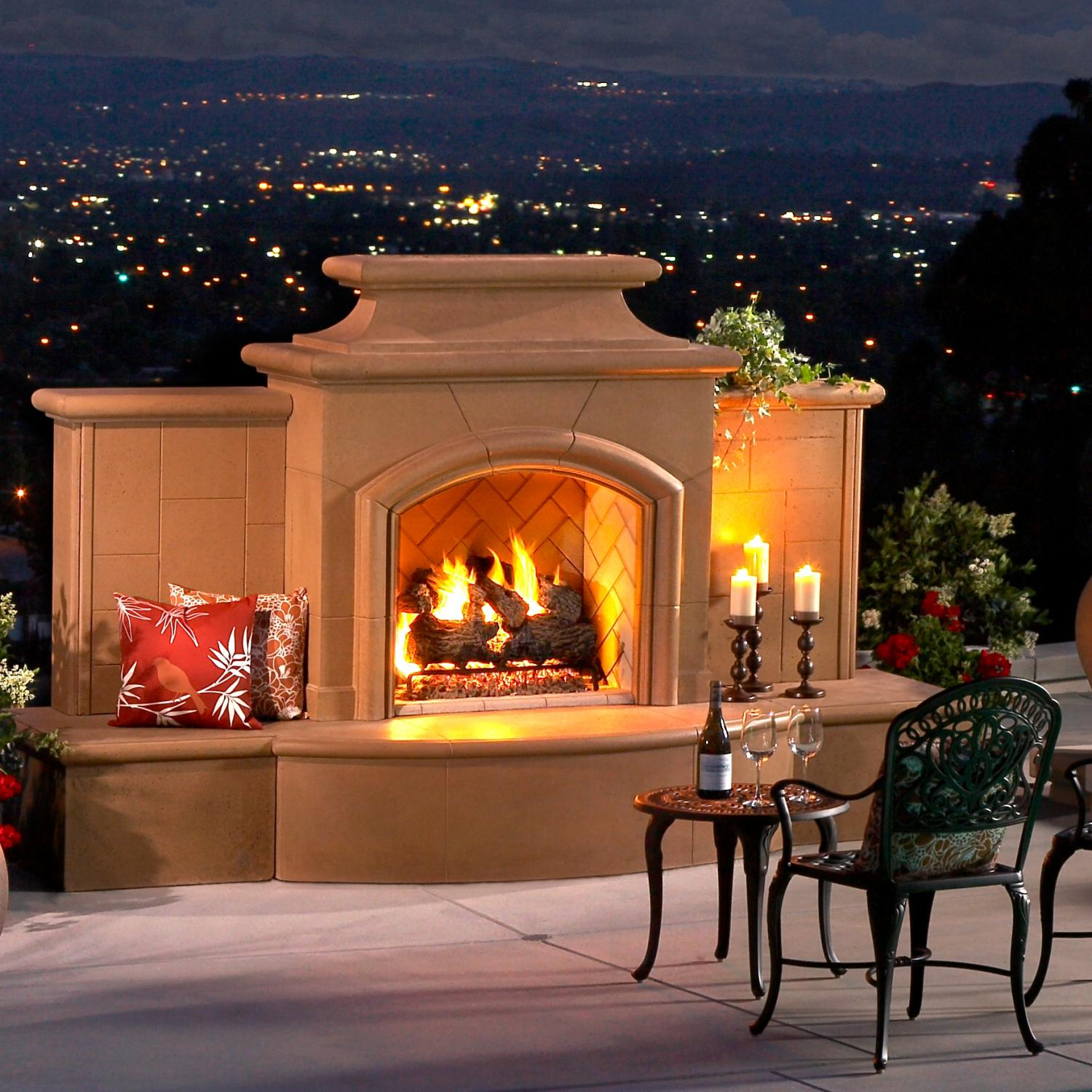 American Fyre Designs Grand Mariposa 113-inch Outdoor Natural Gas Fireplace - Cafe Blanco