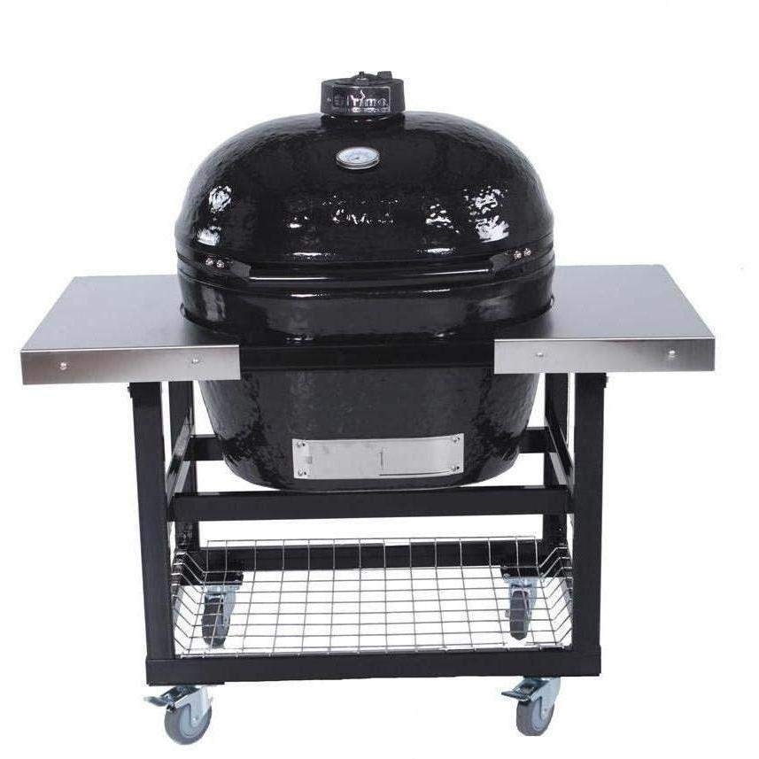 Primo Oval XL Ceramic Kamado Grill On Steel Cart With Stainless Side Tables - 778 + 370